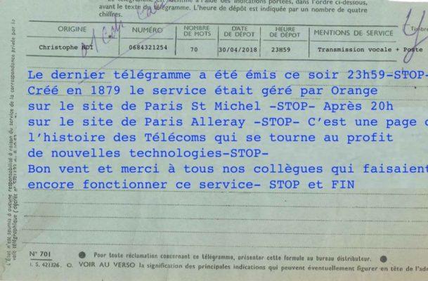 En France, le dernier télégramme de l'histoire a été envoyé lundi soir